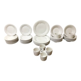 White Ceramic Embossed Fruit by Gibson Designs Dining Set - 61 Pieces For Sale