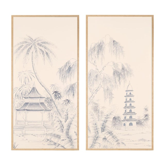 """Wood Jardins en Fleur """"Blue Pagoda Garden"""" Chinoiserie Hand-Painted Panel on Blush Silk Diptych by Simon Paul Scott in Burnished Gold Frame - a Pair For Sale - Image 7 of 7"""