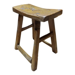 Antique Mortised Chinese Elm Stool For Sale