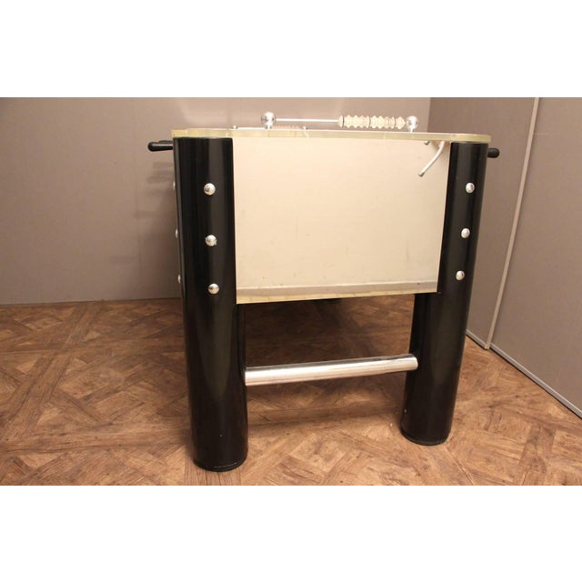 Black 1970s Lucite and Mirror Polished Aluminum Foosball Table For Sale - Image 8 of 12