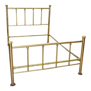 19th Century Victorian Full Size Brass Bedframe For Sale