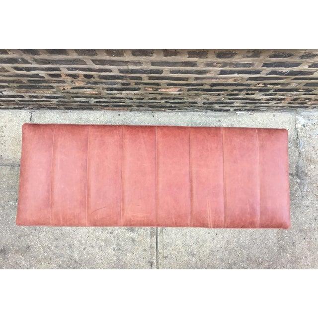 Upholstered Garrett Leather Bench For Sale - Image 4 of 7