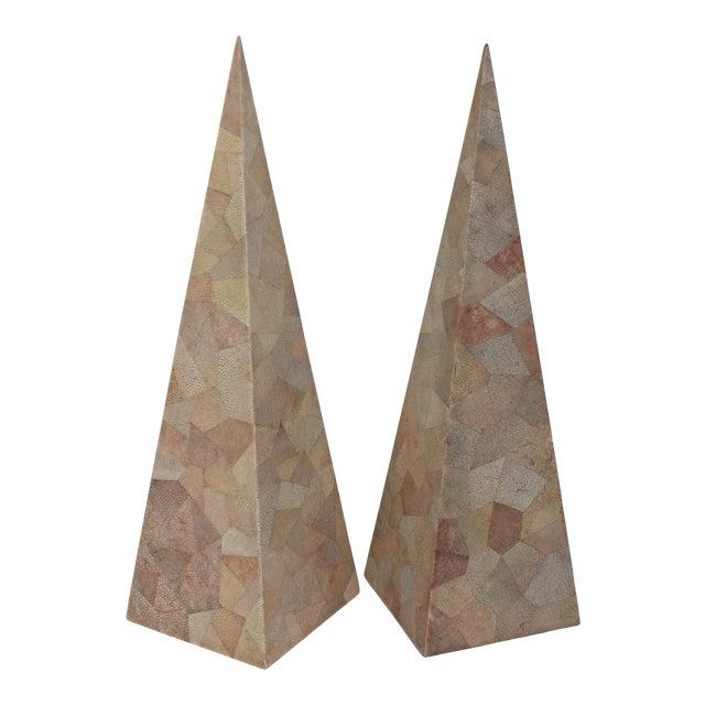 Vintage Maitland-Smith Shagreen Obelisks - a Set of 2 For Sale