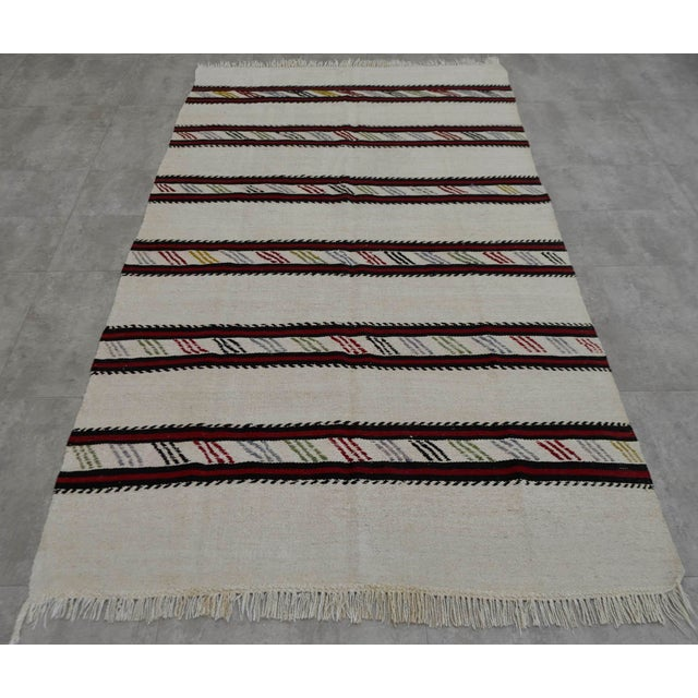 Vintage Natural Stripe Turkish Cotton Kilim Rug - 4′3″ × 8′ - Image 3 of 9