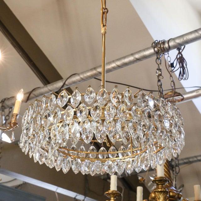 Gold Vintage Austrian Palwa Crystal Chandelier For Sale - Image 8 of 9
