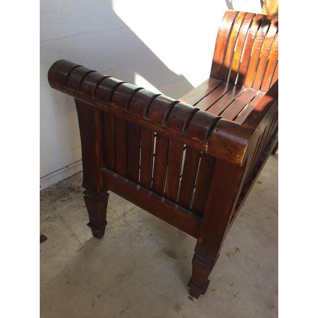Arts & Crafts Slatted Carved Wooden Bench For Sale - Image 3 of 5