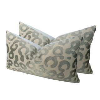 Modern Grey Leopard Pillows - A Pair For Sale