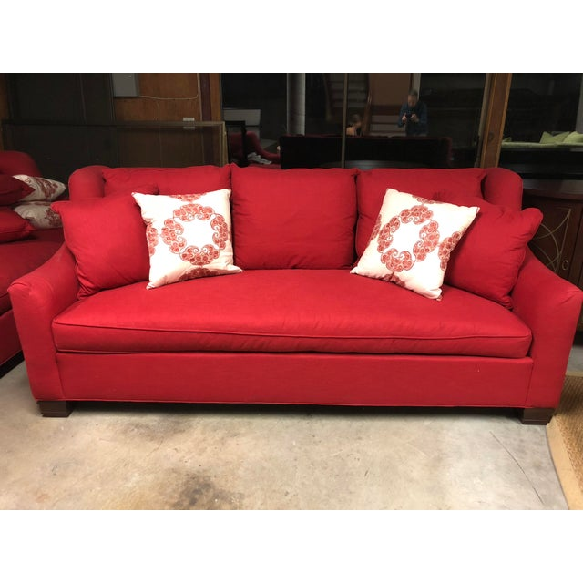 Contemporary Hickory Chair Red Sutton Sofa For Sale - Image 3 of 3