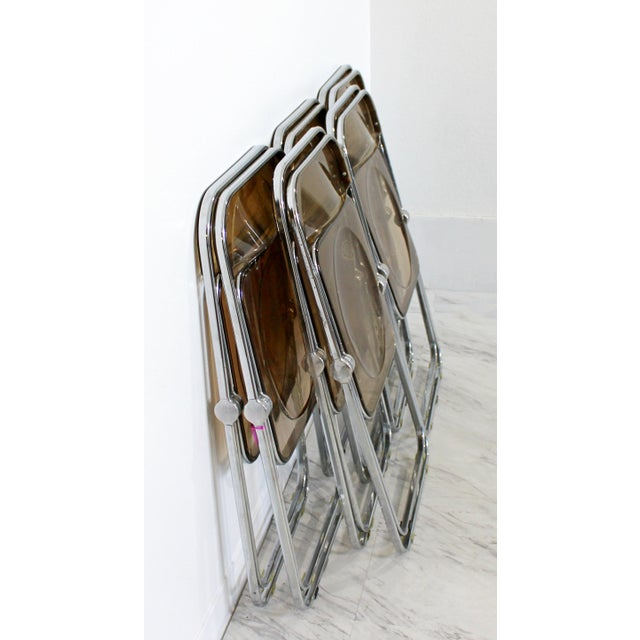 1960s Castelli Mid Century Modern Smoked Lucite Folding Chairs Italy - Set of 10 For Sale - Image 9 of 12