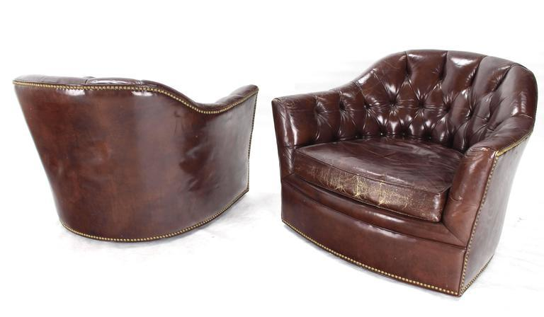 Very Nice Pair Of Leather Swivel Lounge Barrel Back Chairs. Tufted  Chesterfield Style Leather Back