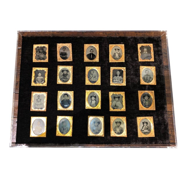 Collection of School Children and Teacher Portraits Circa 1870 in Acrylic Case - Set of 20 For Sale