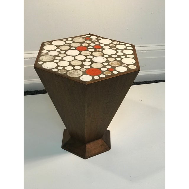 High-End Unusual Tile Accent Table With Beautiful Colored