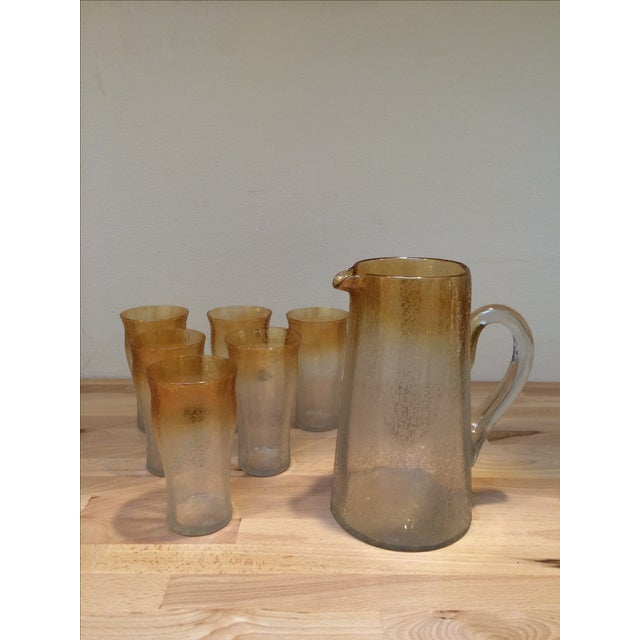 Mid-Century Crackle Glass Pitcher & Six Glasses For Sale - Image 6 of 8