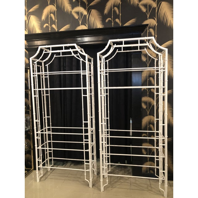 Wonderful pair of vintage faux bamboo, pagoda top metal Etageres. These have been professionally powdercoated in a fresh...