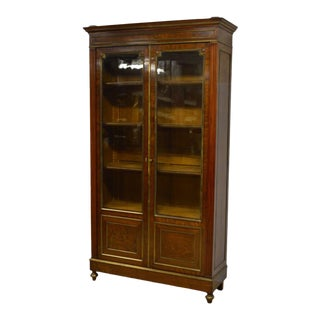 Antique Directoire Style Mahogany & Brass French Knock Down Two Door Bookcase