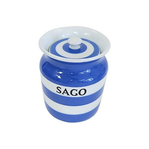 Vintage English Cornishware Sago Canister - Image 2 of 3