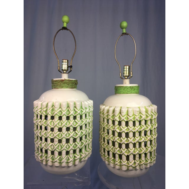 White Vintage 1960s White and Green Ceramic Lamps - a Pair For Sale - Image 8 of 10