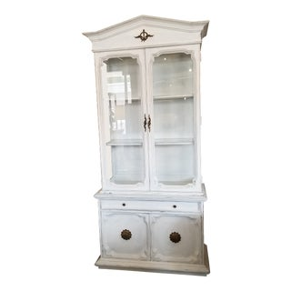 Shabby Chic Jadi White Wood & Glass Display Hutch For Sale
