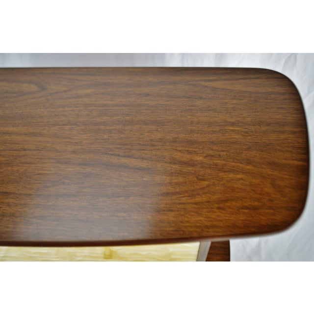 Mid Century Modern Walnut Formica & Faux Mother of Pearl Dry Bar For Sale In Philadelphia - Image 6 of 13