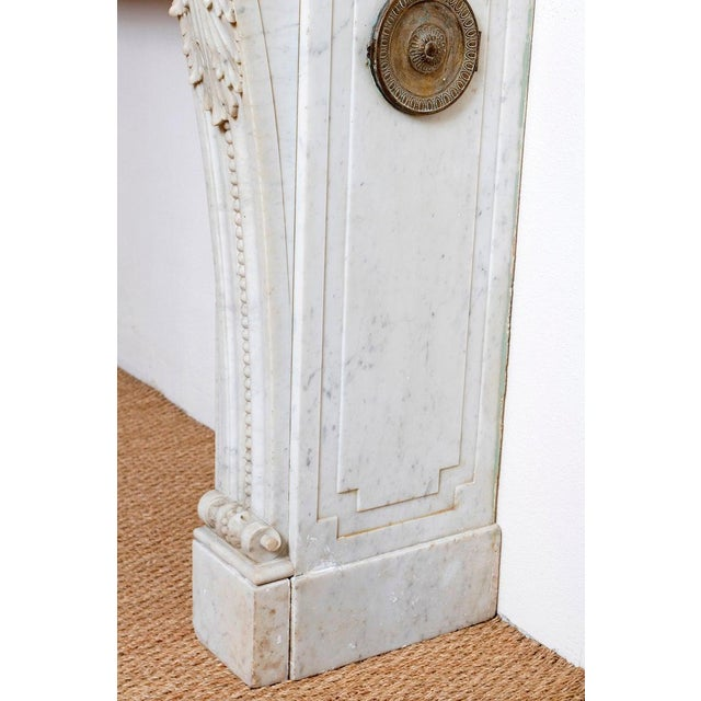 Gold 19th Century Louis XVI Style Carrara Marble Fireplace Surround / Mantel For Sale - Image 8 of 13