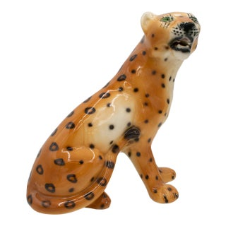 Vintage 1970's Ceramic Cheetah Bengal Cat Sculpture Figurine with Green Eyes For Sale