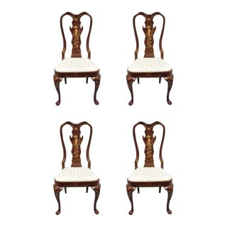 Vintage Mid Century Hickory MFG Queen Anne Dining Side Chairs- Set of 4 For Sale