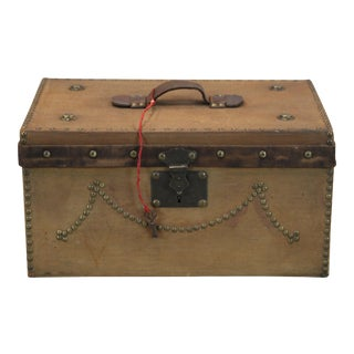 Old Brown French Box With Key & French Tack Accents