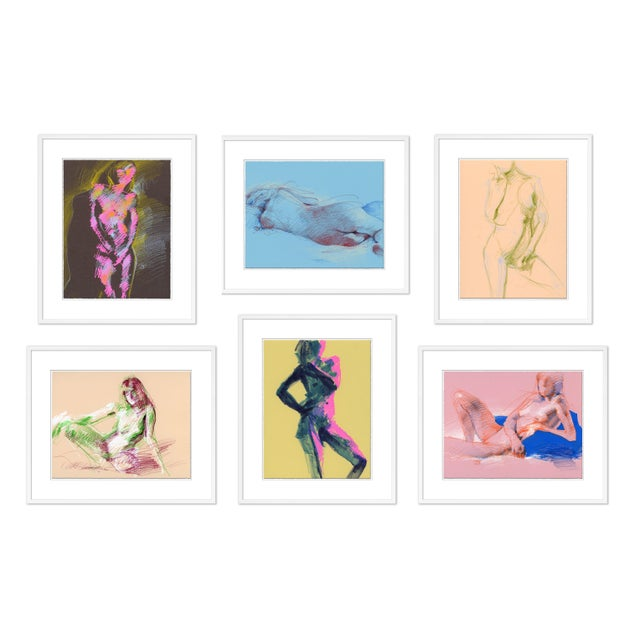 Figures, Set of 6 by David Orrin Smith in White Frame, Small Art Print For Sale - Image 10 of 10