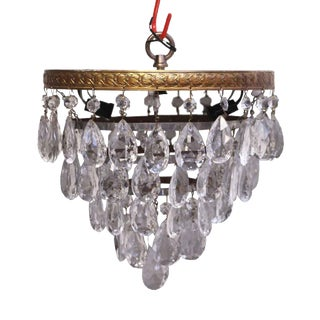 1930s Salvaged Waldorf Flush Mount Teardrop Crystal Cake Light For Sale