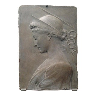 15th Century European Carving of St. Cecilia Bronze Plaque For Sale