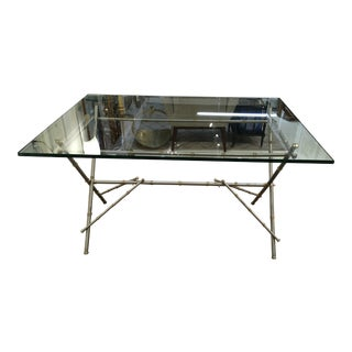 Steel & Brass Regency Style X Base W/ Glass For Sale
