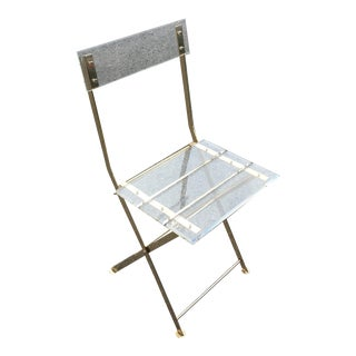 Vintage French Acrylic Folding Chair With Brass Base, C.1970s For Sale
