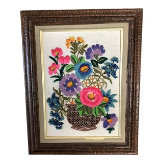 1960's Framed Floral Crewel Embroidery For Sale