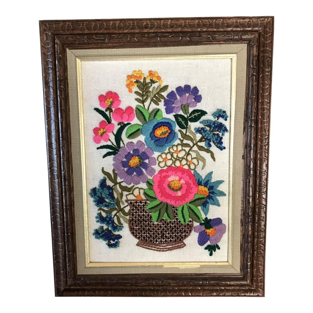 1960s Framed Floral Crewel Embroidery Chairish