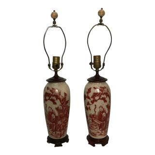 Red and White Porcelain Chinoiserie Lamps - a Pair For Sale