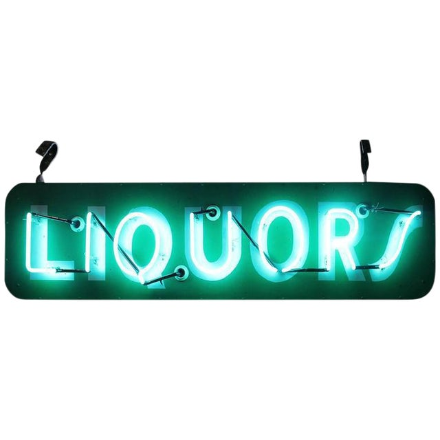 "1950s Vintage ""Liquors"" Neon Sign For Sale"