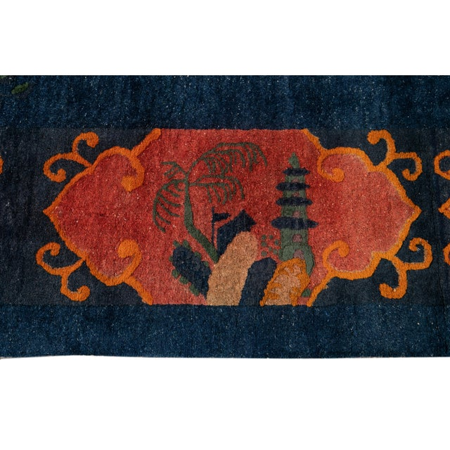 Early 20th Century Antique Art Deco Chinese Square Wool Rug 13 X 12 For Sale - Image 12 of 13