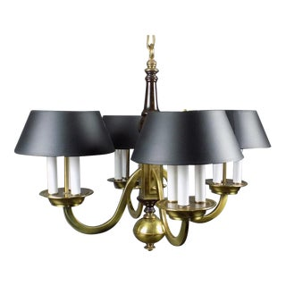 Frederick Cooper Bouillotte Style Brass Chandelier with Black Shades For Sale