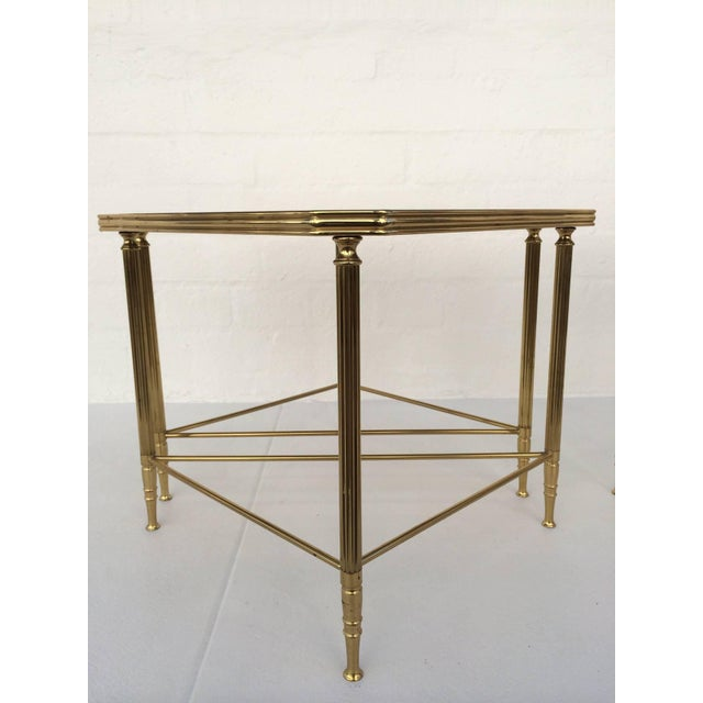 Brass and Glass Tables by Maison Jansen - Set of 4 For Sale - Image 9 of 10