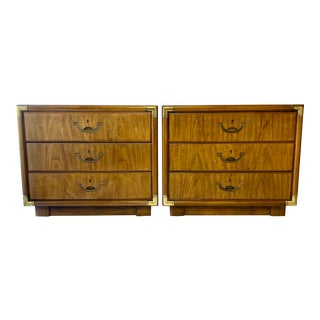 Drexel Campaign Nightstands Chest of Drawers - a Pair For Sale