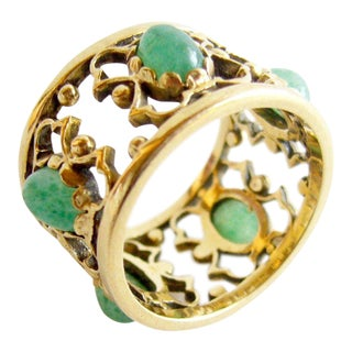 1960's 14k Gold Jade Filegree Band Ring For Sale