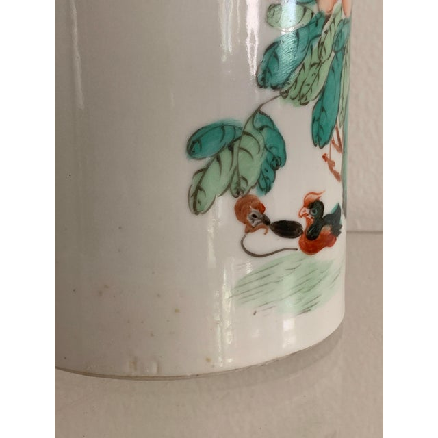 Turquoise Antique 19th Chinese Hat Stand Cylinder Vase For Sale - Image 8 of 13