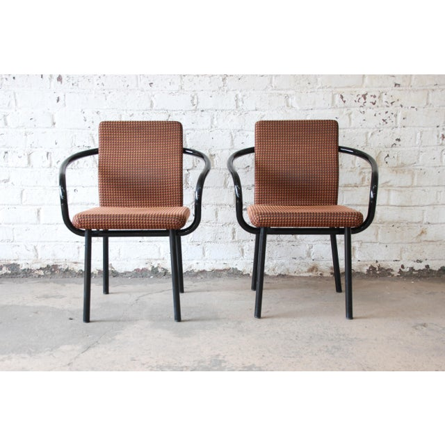 """Offering a fantastic pair of """"Mandarin"""" armchairs designed in 1986 by Ettore Sottsass for Knoll. The chairs feature..."""