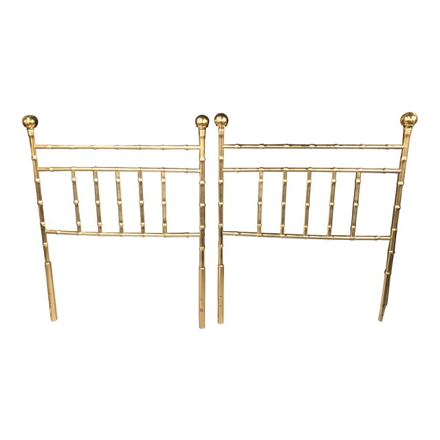 Vintage Hollywood Regency Brass Faux Bamboo Twin Size Headboards -A Pair For Sale