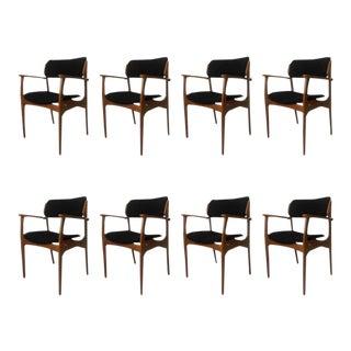 Erik Buch Oak & Black Fabric Model 50 Armchairs - Set of 8 For Sale