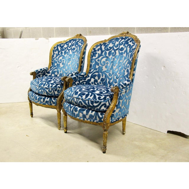 French Antique French Giltwood Bergere Chairs, Pair For Sale - Image 3 of 10