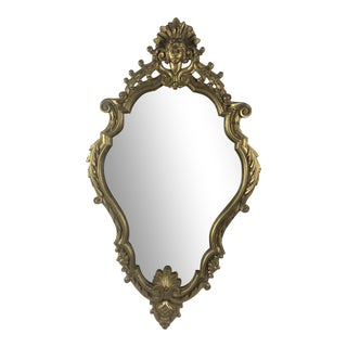 Antique Wall Mirror With Sculpted Giltwood Frame For Sale