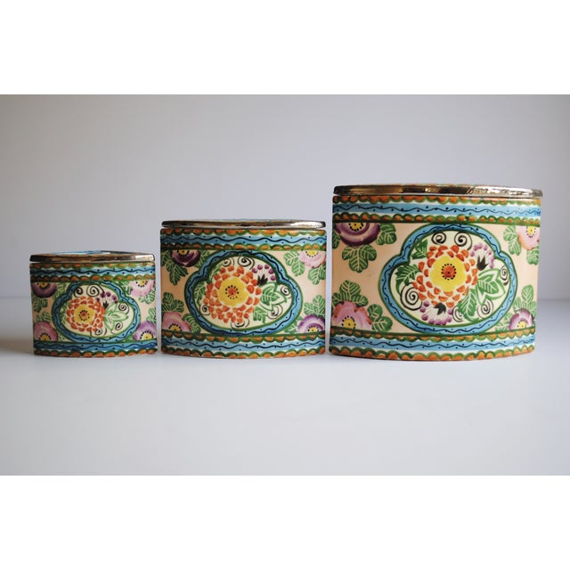 Vintage Handpainted Ceramic Canisters, Set of 3 - Image 3 of 4