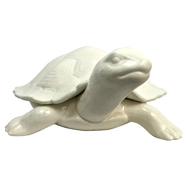 Hand-Cast Ceramic Turtle Bowl With Shell Lid - Image 3 of 9