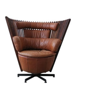 1990s Pacific Green Tavarua Palm Wood and Leather Swivel Chair For Sale